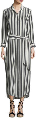 Marie France Van Damme Button-Front Long-Sleeve Striped Silk Coverup Maxi Dress