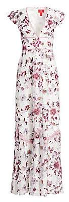 ML Monique Lhuillier Women's Floral-Embroidery Mesh Gown