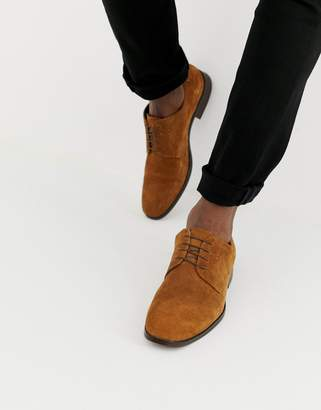 Asos Design DESIGN lace up shoes in tan suede with natural sole