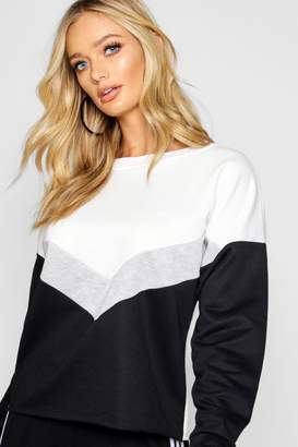 boohoo Chevron Colour Block Sweat