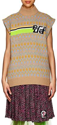 Prada Women's Logo-Knit Wool Sleeveless Turtleneck Sweater