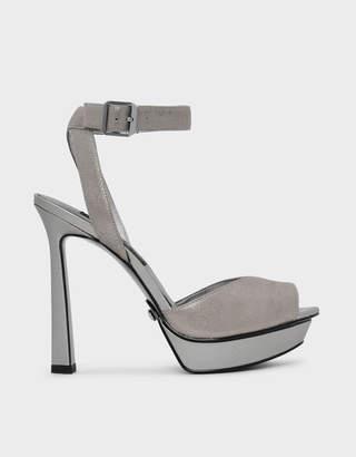 Charles & Keith Peep Toe Leather Heels