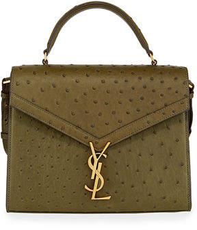 Saint Laurent Cassandre Monogram Ostrich Top-Handle Bag