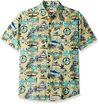 Margaritaville Men's Short Sleeve LandShark Print Cotton Dobby Shirt