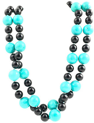 One Kings Lane Vintage Onyx & Turquoise Bead Necklace - Owl's Roost Antiques
