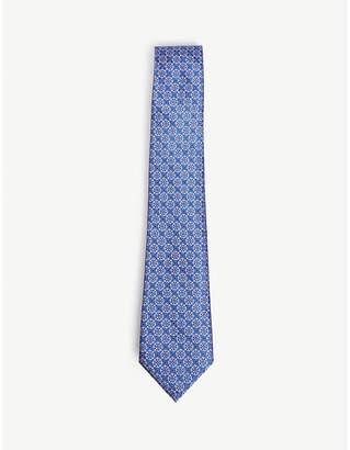 Canali Pin dot floral print silk tie