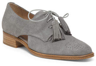 Made In Spain Cut Out Flat Suede Oxfords