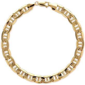 Italian Gold Men's Beveled Marine Link Bracelet in 10k Gold