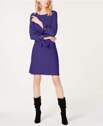 INC International Concepts I.n.c. Grommet Bell-Sleeve Sweater Dress