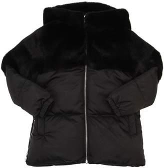 Hooded Faux Fur & Nylon Puffer Jacket