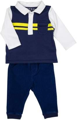 GUESS Boy's 2-Piece Colourblock Long Sleeve Polo Jeans Set