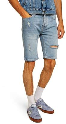 Topman Bleach Ripped Skinny Denim Shorts