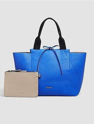 Calvin Klein Calvin Klein Womens Large Reversible Tote + Zip Pouch Dazzling Blue