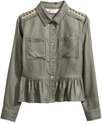 H&M Blouse with Embroidery - Green