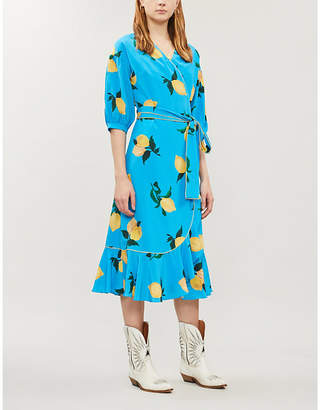 Chinti and Parker Lemon-print silk-crepe midi dress
