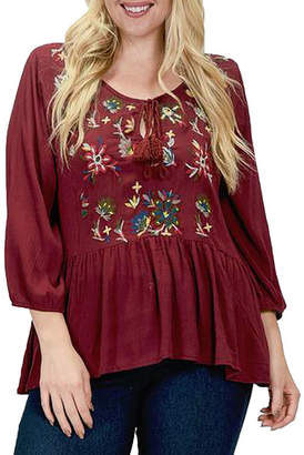 Asstd National Brand Plus Floral Embroidered Peplum Blouse