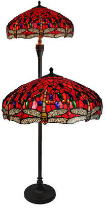 Stained Glass Red Dragonfly Floor Lamp