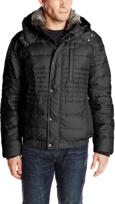 Andrew Marc Men's Dave Ultra Down Jacket with Microfleece Details and Removable Hood