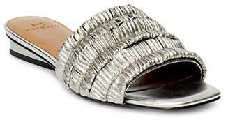 Halston H Plisse Satin Flat Sandals