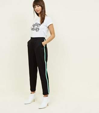New Look Green Side Stripe Slim Leg Trousers