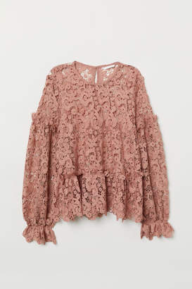 H&M Embroidered Lace Blouse - Pink