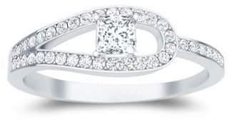 FineTresor 0.66 Carat Princess cut Diamond Unique Diamond Ring On 10K White Gold