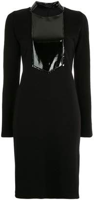 Zambesi patent bib detail fitted dress