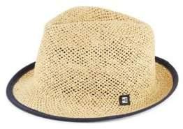 Block Headwear Suede-Tipped Open Weave Straw Trilby