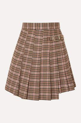 Maje Jilo Buckled Pleated Checked Tweed Mini Skirt - Ecru