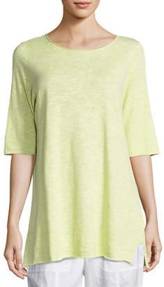 Eileen Fisher Half-Sleeve Linen-Blend Tunic, Plus Size