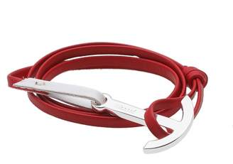 Miansai Silver Anchor Leather Bracelet