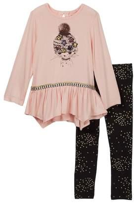 Jessica Simpson Hanky Hem Tee & Legging Set (Toddler & Little Girls)