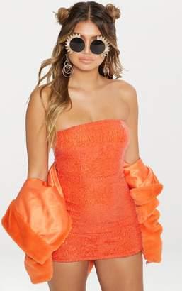 PrettyLittleThing Bright Orange Sequin Bandeau Bodycon Dress