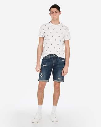 2415f35d36 Express Slim 9 Inch Medium Wash Distressed Stretch Denim Shorts