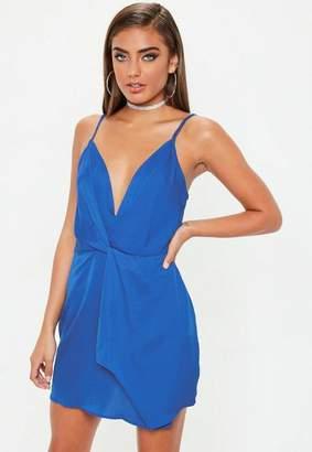 Missguided Petite Blue Strappy Deep Plunge Twist Front Mini Dress