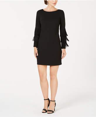 Adrianna Papell Fringe-Sleeve Shift Dress