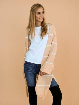 Goodnight Macaroon 'Emersyn' Peach Striped Thin Open Long Cardigan