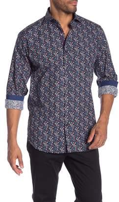 Bugatchi Leaf Patterned Long Sleeve Classic Fit Shirt