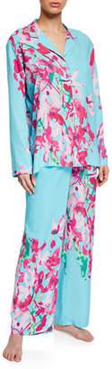Natori Hyacinth Floral-Print Classic Pajama Set