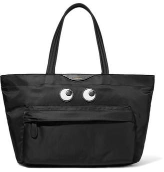 Anya Hindmarch Eyes Leather-appliquéd Shell Tote - Black