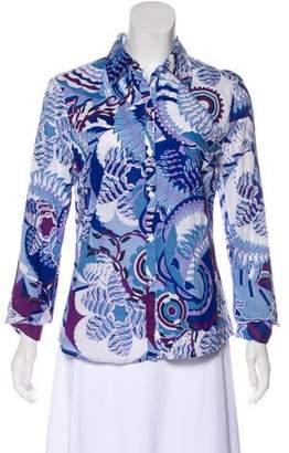 Tahari Long Sleeve Button-Up Top
