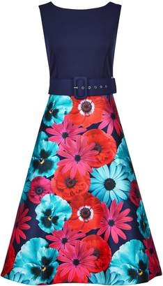 Dorothy Perkins Womens **Luxe Multi Colour Floral Print Belted Midi Dress