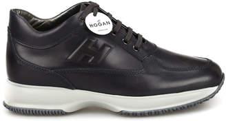 Hogan Slate Black Leather Interactive Sneakers Hxm00n09041kbob804