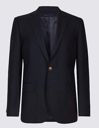 M&S Collection Pure Wool Textured Regular Fit Jacket