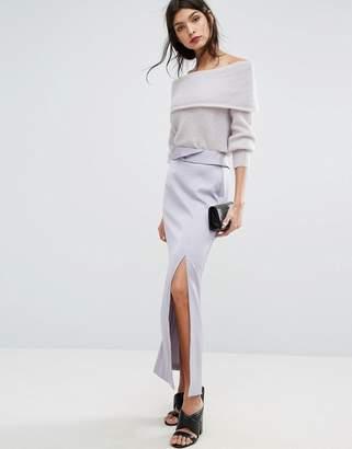 Jaeger Split Detail Long Satin Skirt
