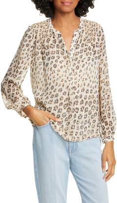 Joie Cordell Leopard Print Silk Popover Top