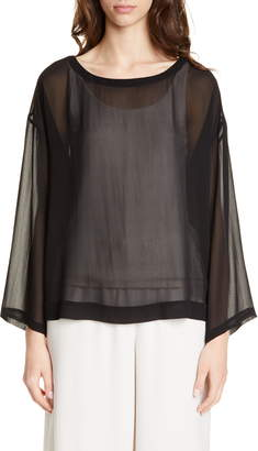 Eileen Fisher Ballet Neck Chiffon Boxy Top