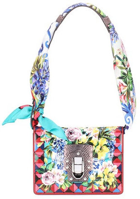 Lucia printed leather shoulder bag