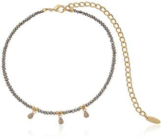 Ettika Metallic Gumdrop in Gun Metal and Gold Choker Necklace
