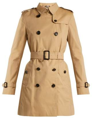 Burberry Kensington Cotton Gabardine Trench Coat - Womens - Tan